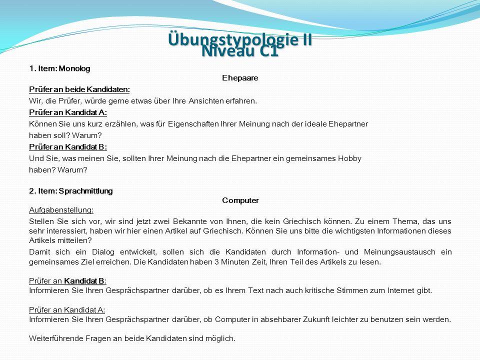 Übungstypologie II Niveau C1 1.