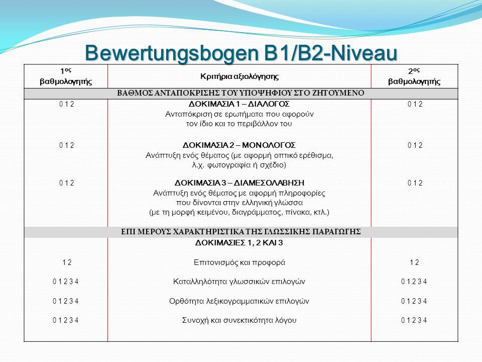 Bewertungsbogen B1/B2-Niveau 1 ος βαθμολογητής Κριτήρια αξιολόγησης 2 ος βαθμολογητής ΒΑΘΜΟΣ ΑΝΤΑΠΟΚΡΙΣΗΣ ΤΟΥ ΥΠΟΨΗΦΙΟΥ ΣΤΟ ΖΗΤΟΥΜΕΝΟ 0 1 2 ΔΟΚΙΜΑΣΙΑ 1 – ΔΙΑΛΟΓΟΣ Ανταπόκριση σε ερωτήματα που αφορούν τον ίδιο και το περιβάλλον του 0 1 2 ΔΟΚΙΜΑΣΙΑ 2 – ΜΟΝΟΛΟΓΟΣ Ανάπτυξη ενός θέματος (με αφορμή οπτικό ερέθισμα, λ.χ.