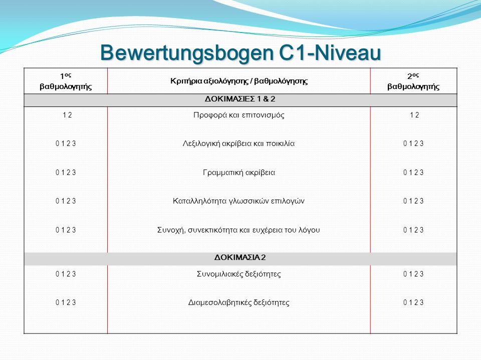 Bewertungsbogen C1-Niveau 1 ος βαθμολογητής Κριτήρια αξιολόγησης / βαθμολόγησης 2 ος βαθμολογητής ΔΟΚΙΜΑΣΙΕΣ 1 & 2 1 2 0 1 2 3 Προφορά και επιτονισμός Λεξιλογική ακρίβεια και ποικιλία Γραμματική ακρίβεια Καταλληλότητα γλωσσικών επιλογών Συνοχή, συνεκτικότητα και ευχέρεια του λόγου 1 2 0 1 2 3 ΔΟΚΙΜΑΣΙΑ 2 0 1 2 3 Συνομιλιακές δεξιότητες Διαμεσολαβητικές δεξιότητες 0 1 2 3