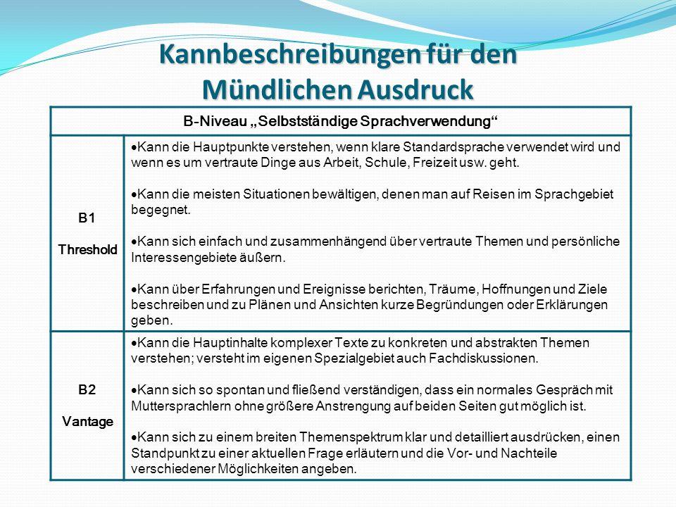 Übungstypologie IV Niveau B1/B2 Item 3: Sprachmittlung Aufgabenstellung den Kandidaten bekannmachen.