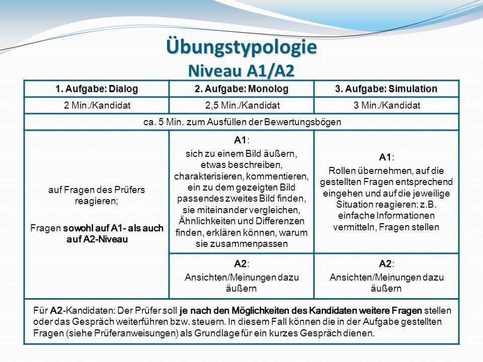 Übungstypologie Niveau A1/A2 1.Aufgabe: Dialog 2.