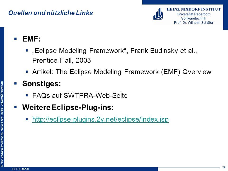 © Fachgebiet Softwaretechnik, Heinz Nixdorf Institut, Universität Paderborn Quellen und nützliche Links EMF: Eclipse Modeling Framework, Frank Budinsk