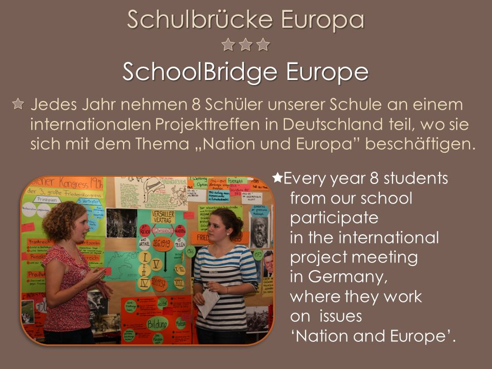 Every year 8 students from our school participate in the international project meeting in Germany, where they work on issues Nation and Europe.