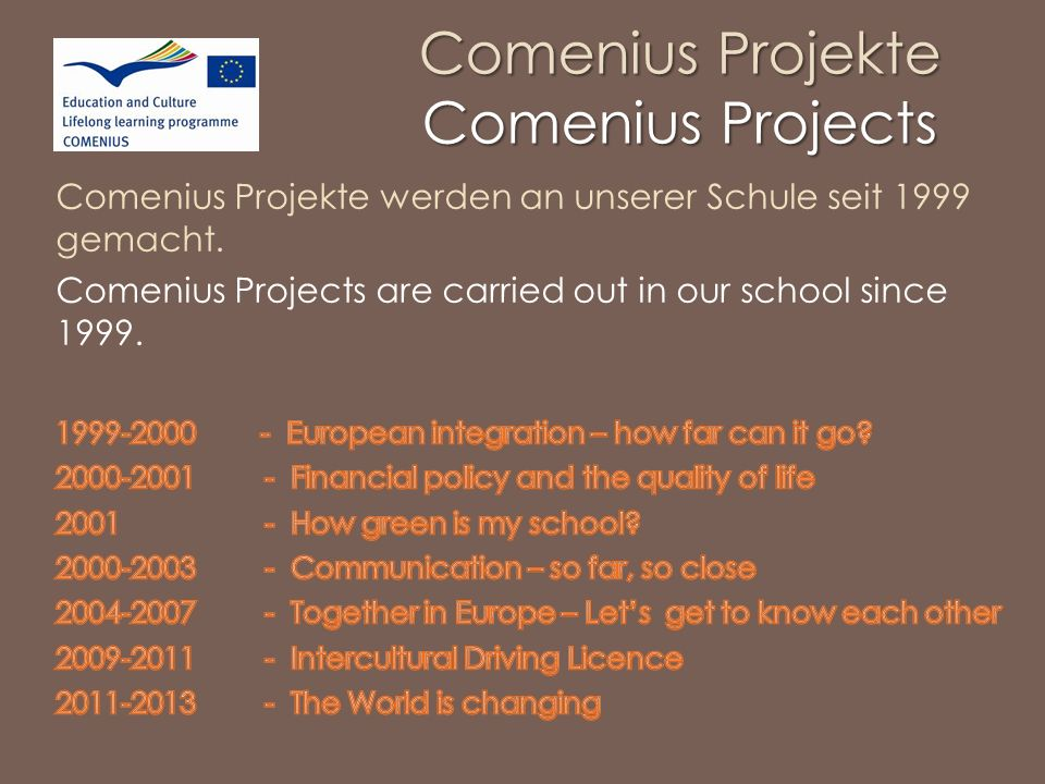 Comenius Projekte Comenius Projects
