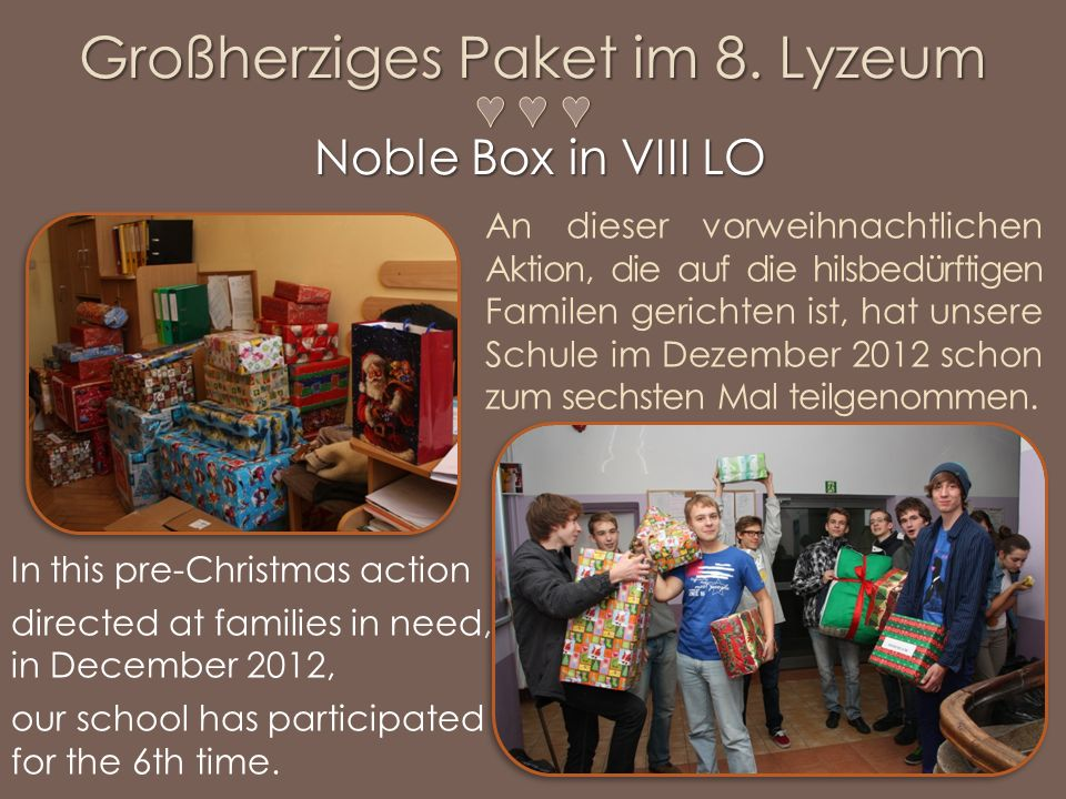 In this pre-Christmas action directed at families in need, in December 2012, our school has participated for the 6th time.