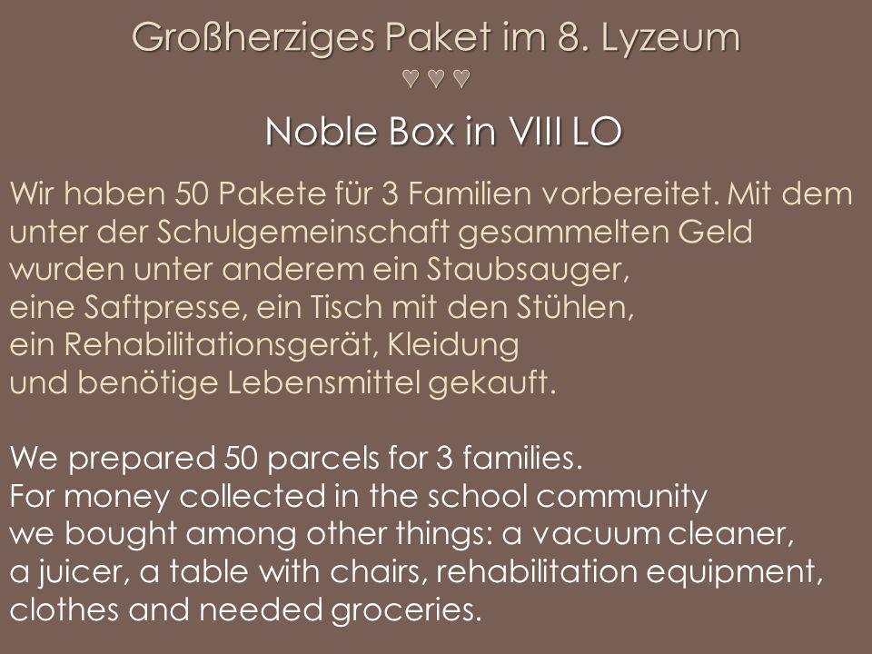 Wir haben 50 Pakete für 3 Familien vorbereitet. Mit dem unter der Schulgemeinschaft gesammelten Geld wurden unter anderem ein Staubsauger, eine Saftpr