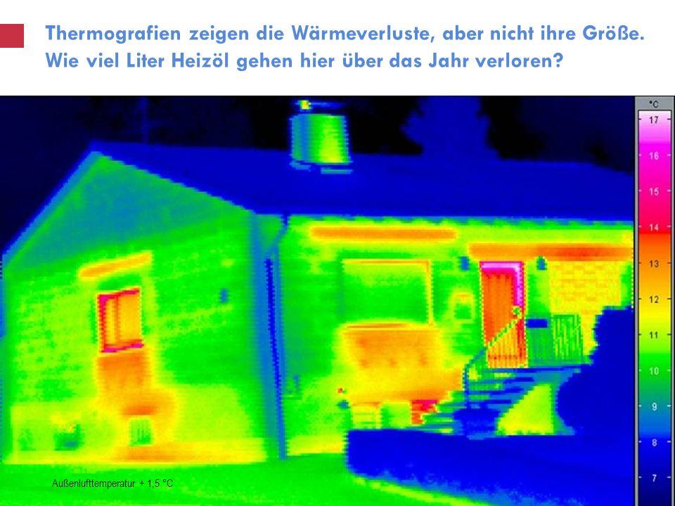 Thermografien zeigen die Wärmeverluste, aber nicht ihre Größe. Wie viel Liter Heizöl gehen hier über das Jahr verloren? Außenlufttemperatur + 1,5 °C