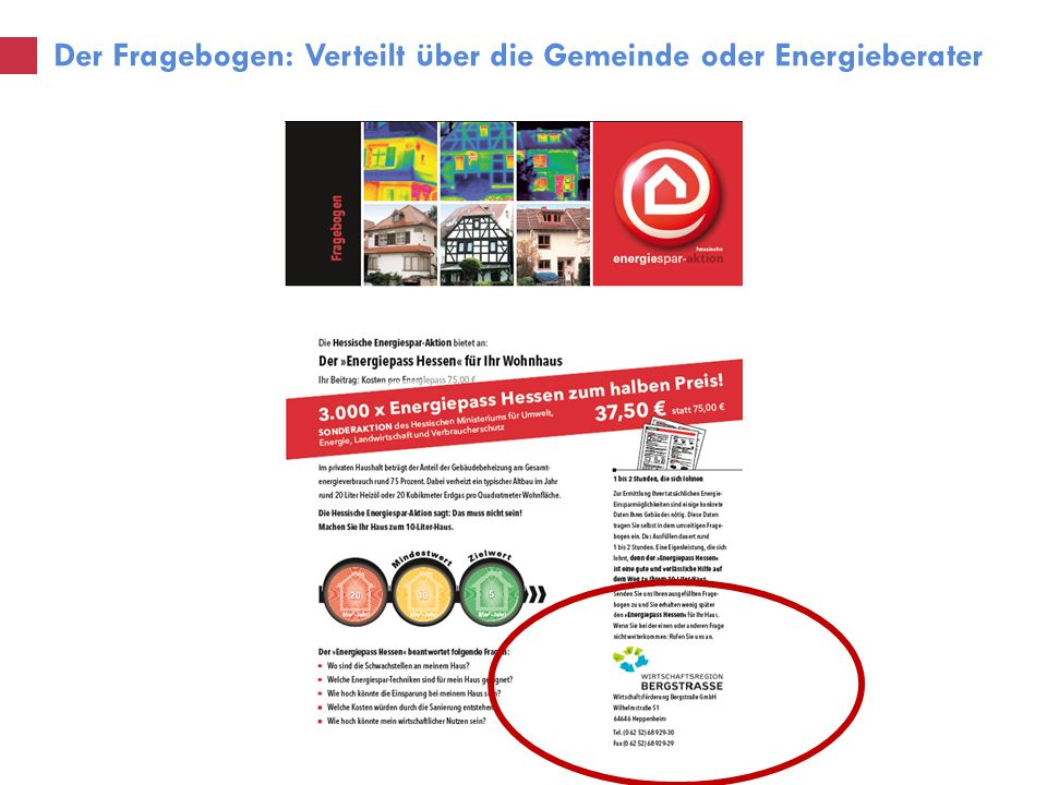 Der Fragebogen: Verteilt über die Gemeinde oder Energieberater