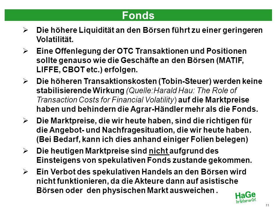 Fonds 11 Die höhere Liquidität an den Börsen führt zu einer geringeren Volatilität. Eine Offenlegung der OTC Transaktionen und Positionen sollte genau