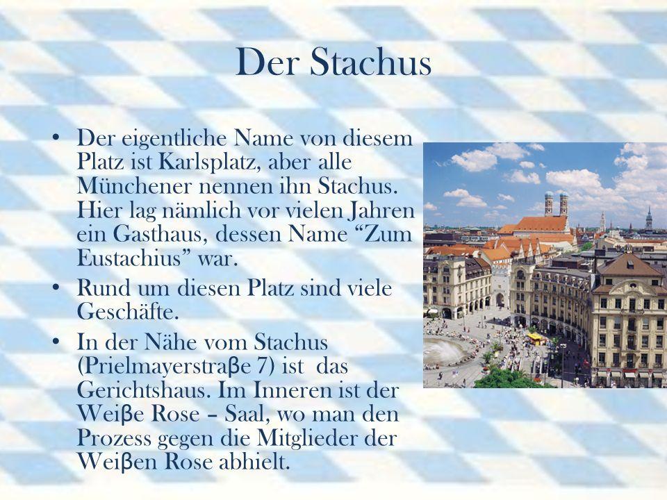 Der Stachus Der eigentliche Name von diesem Platz ist Karlsplatz, aber alle Münchener nennen ihn Stachus.