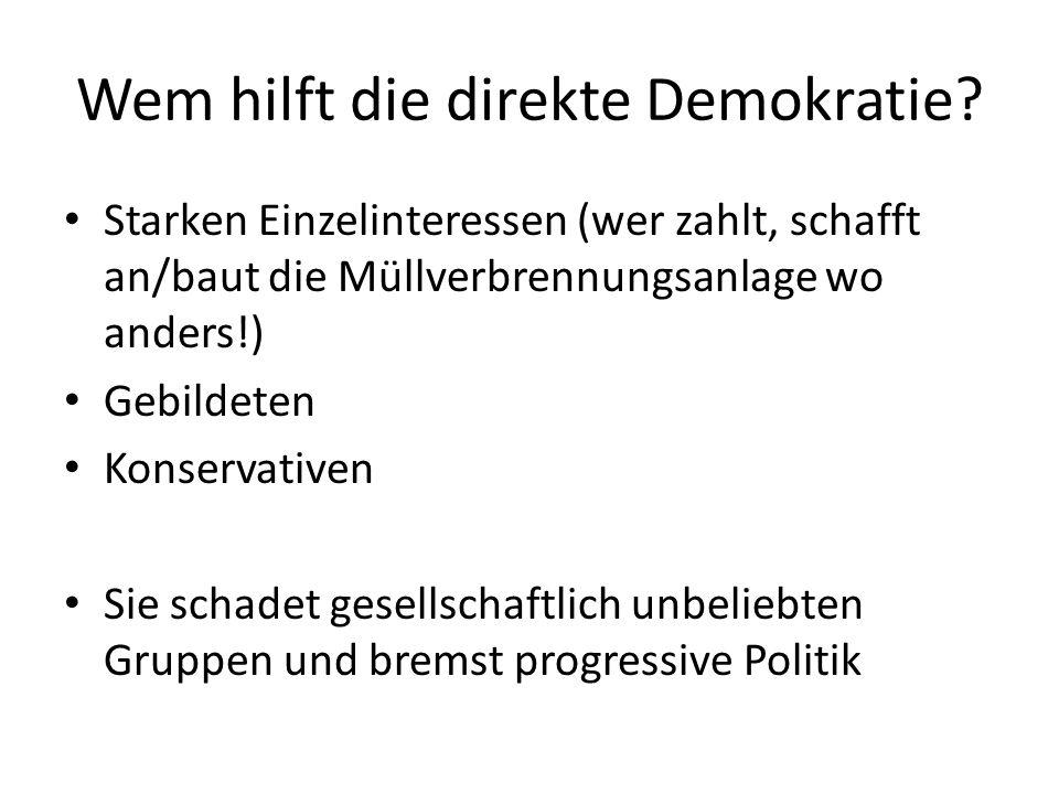 Parteien in der direkten Demokratie Auch in der Schweiz gibt es politische Parteien Sie sind ein wichtiger Faktor bei der Meinungsbildung in direkt-demokratischen Entscheidungen – Abstimmungsparolen Kein Weg aus dem Stillstand: 72 Prozent der Schweizer Nationalräte und Nationalrätinnen stimmten der Aussage Direkte Demokratie führt zu mehr Stabilität zu.