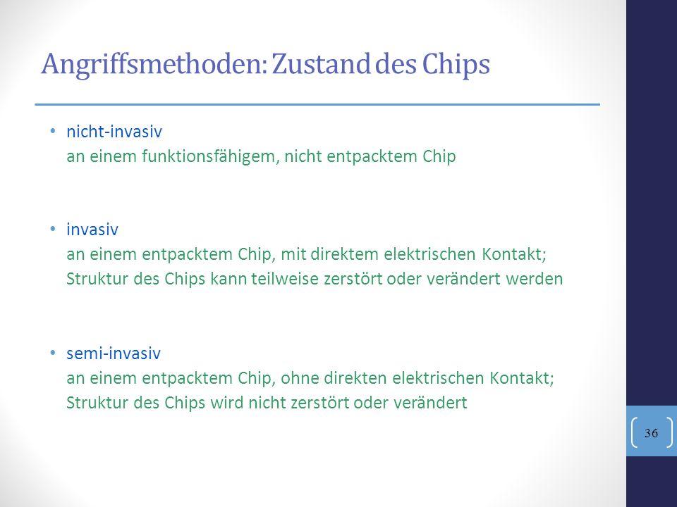 Angriffsmethoden: Zustand des Chips nicht-invasiv an einem funktionsfähigem, nicht entpacktem Chip invasiv an einem entpacktem Chip, mit direktem elek