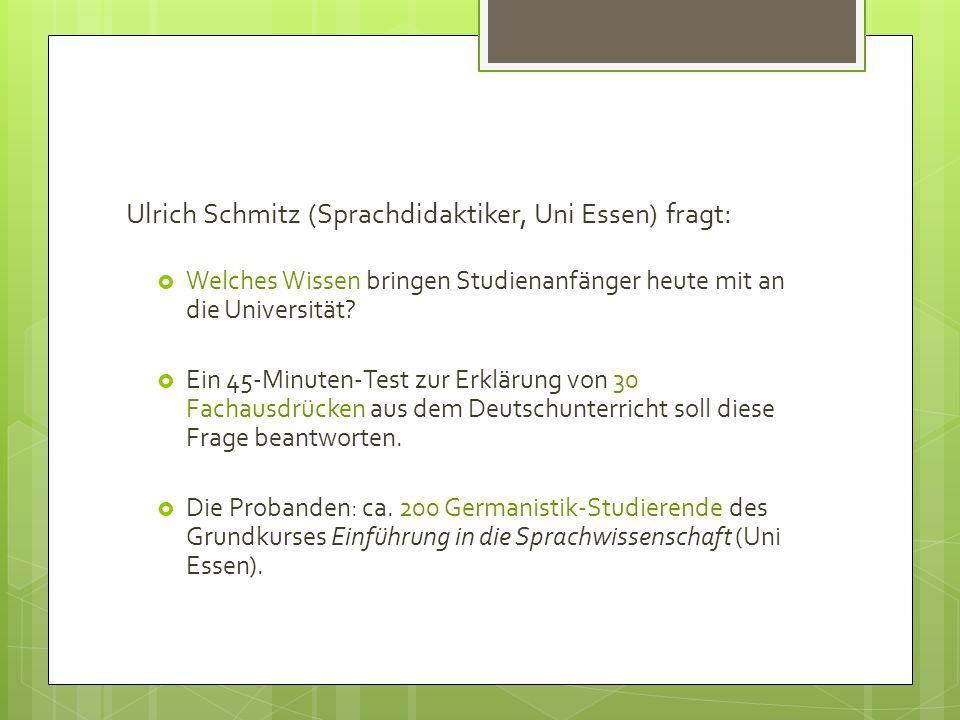 Ulrich Schmitz (Sprachdidaktiker, Uni Essen) fragt: Welches Wissen bringen Studienanfänger heute mit an die Universität? Ein 45-Minuten-Test zur Erklä