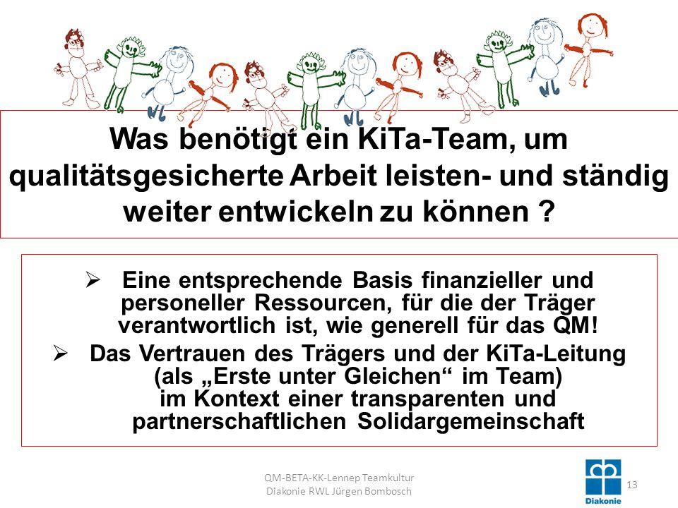 Was benötigt ein KiTa-Team, um qualitätsgesicherte Arbeit leisten- und ständig weiter entwickeln zu können .