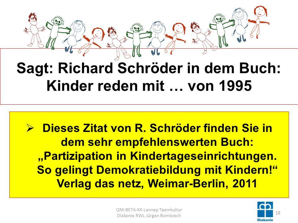 Sagt: Richard Schröder in dem Buch: Kinder reden mit … von 1995 Dieses Zitat von R.