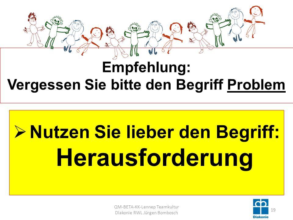 Empfehlung: Vergessen Sie bitte den Begriff Problem Nutzen Sie lieber den Begriff: Herausforderung 19 QM-BETA-KK-Lennep Teamkultur Diakonie RWL Jürgen Bombosch