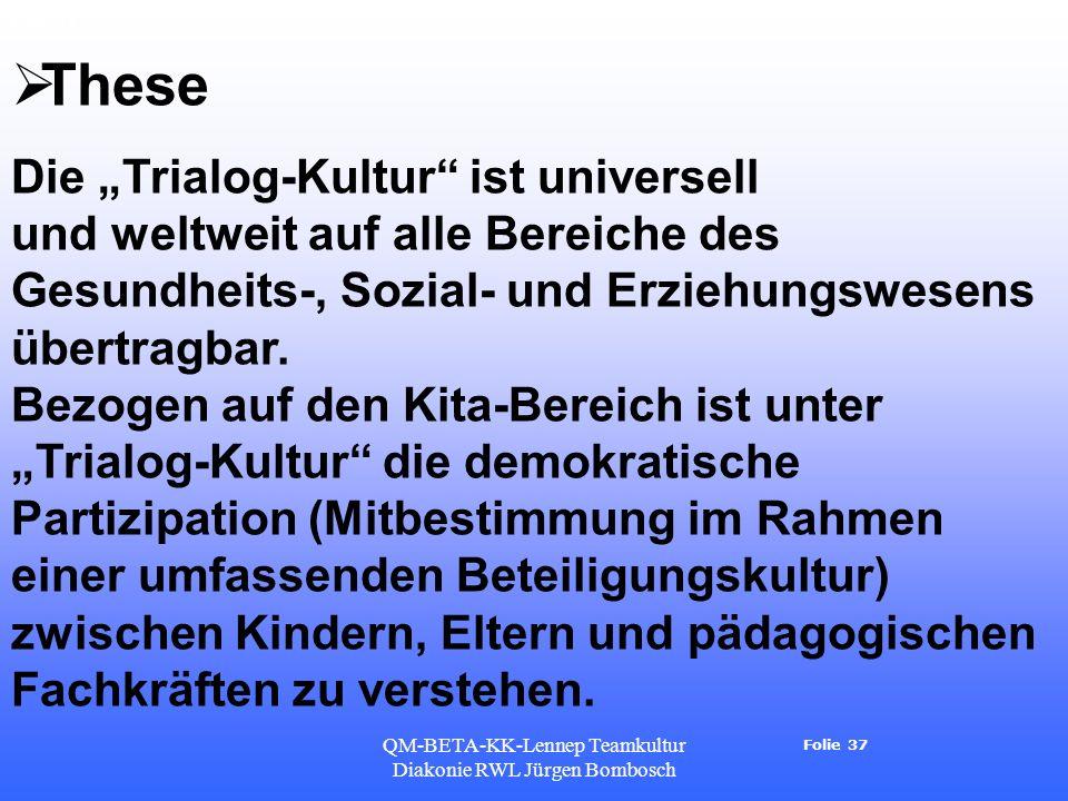 Folie 37 QM-BETA-KK-Lennep Teamkultur Diakonie RWL Jürgen Bombosch Folie 37 These Die Trialog-Kultur ist universell und weltweit auf alle Bereiche des Gesundheits-, Sozial- und Erziehungswesens übertragbar.