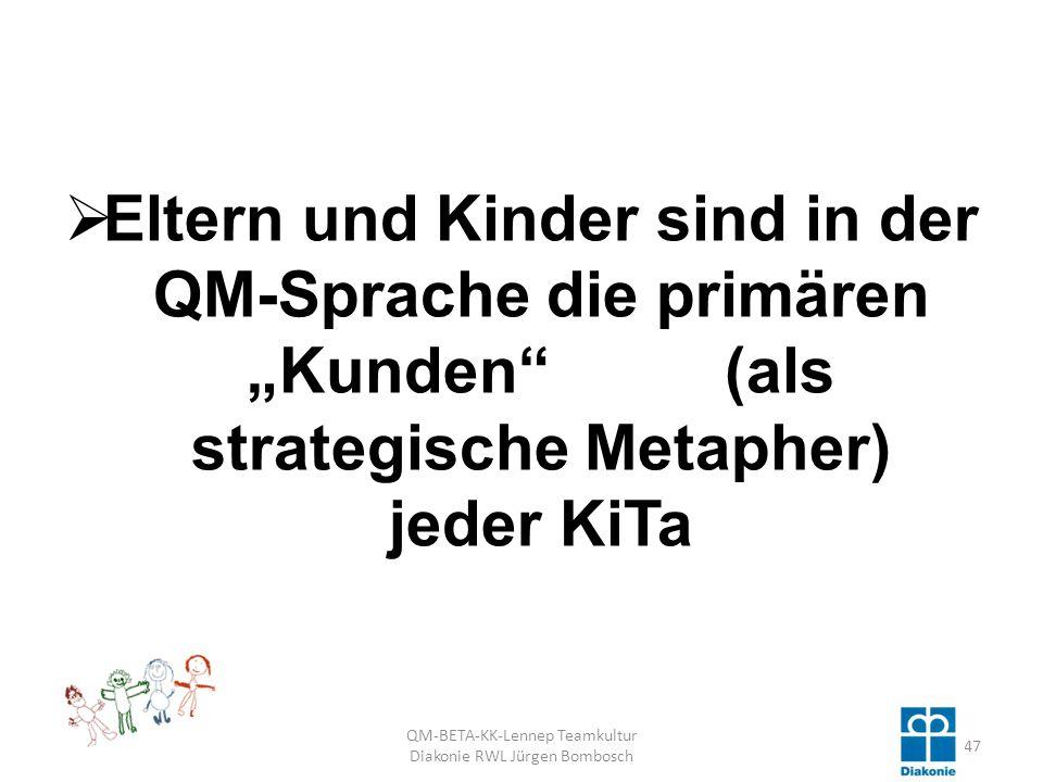 Eltern und Kinder sind in der QM-Sprache die primären Kunden (als strategische Metapher) jeder KiTa QM-BETA-KK-Lennep Teamkultur Diakonie RWL Jürgen Bombosch 47