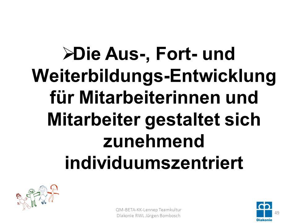 Die Aus-, Fort- und Weiterbildungs-Entwicklung für Mitarbeiterinnen und Mitarbeiter gestaltet sich zunehmend individuumszentriert QM-BETA-KK-Lennep Teamkultur Diakonie RWL Jürgen Bombosch 49
