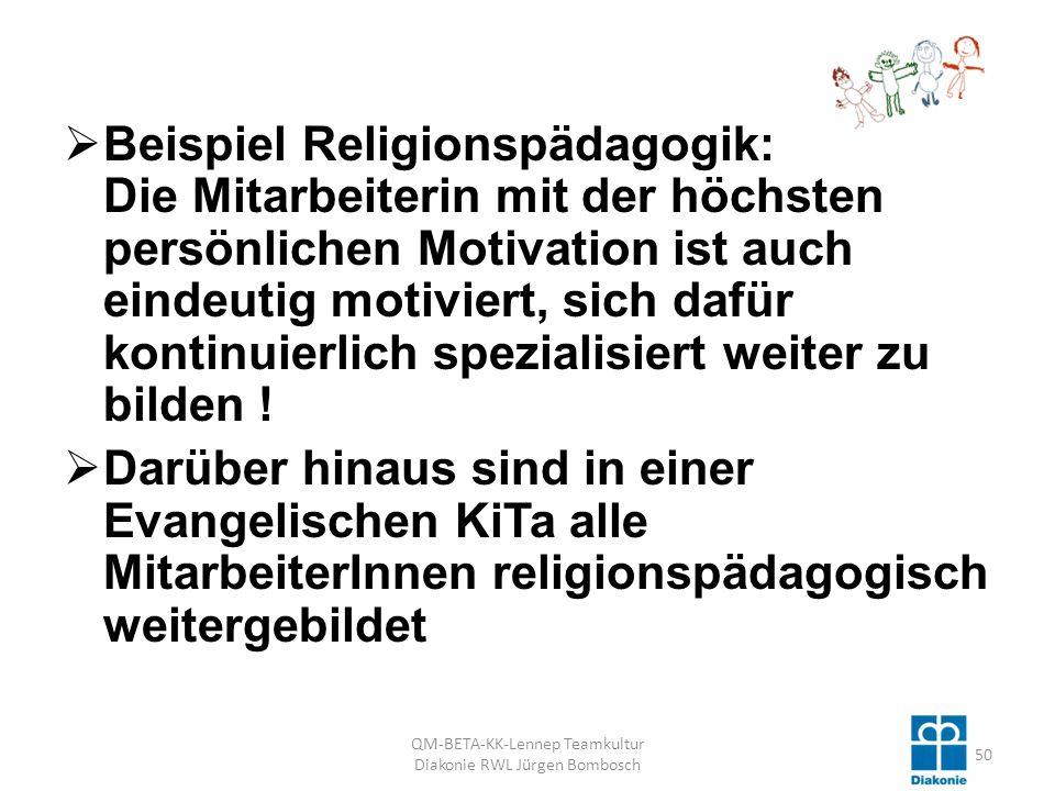 Beispiel Religionspädagogik: Die Mitarbeiterin mit der höchsten persönlichen Motivation ist auch eindeutig motiviert, sich dafür kontinuierlich spezialisiert weiter zu bilden .