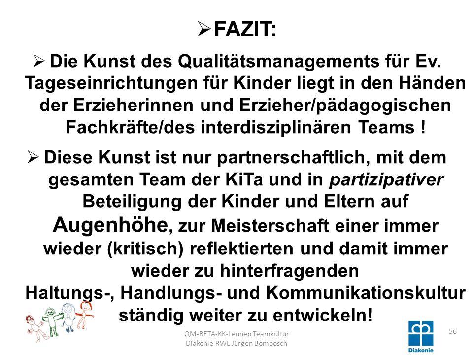 QM-BETA-KK-Lennep Teamkultur Diakonie RWL Jürgen Bombosch 56 FAZIT: Die Kunst des Qualitätsmanagements für Ev.