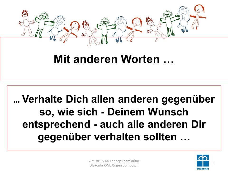 QM-BETA-KK-Lennep Teamkultur Diakonie RWL Jürgen Bombosch 57 Mit anderen Worten: Sie bauen auf Ihrer vorhandenen Qualitätsarbeit auf und verbessern diese kontinuierlich .
