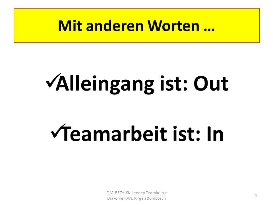 Mit anderen Worten … Alleingang ist: Out Teamarbeit ist: In QM-BETA-KK-Lennep Teamkultur Diakonie RWL Jürgen Bombosch 9