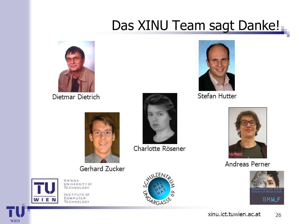 xinu.ict.tuwien.ac.at Das XINU Team sagt Danke! Dietmar Dietrich Stefan Hutter Andreas Perner Charlotte Rösener Gerhard Zucker 26
