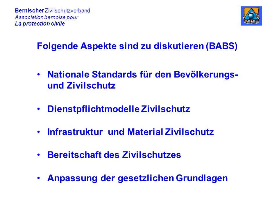 Bernischer Zivilschutzverband Association bernoise pour La protection civile Folgende Aspekte sind zu diskutieren (BABS) Nationale Standards für den Bevölkerungs- und Zivilschutz Dienstpflichtmodelle Zivilschutz Infrastruktur und Material Zivilschutz Bereitschaft des Zivilschutzes Anpassung der gesetzlichen Grundlagen