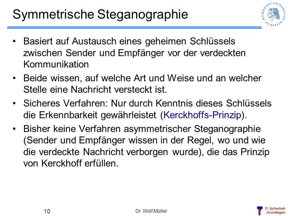 IT-Sicherheit Grundlagen Dr. Wolf Müller 10 Symmetrische Steganographie Basiert auf Austausch eines geheimen Schlüssels zwischen Sender und Empfänger