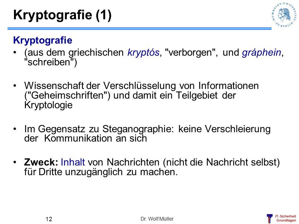 IT-Sicherheit Grundlagen Dr. Wolf Müller 12 Kryptografie (1) Kryptografie (aus dem griechischen kryptós,