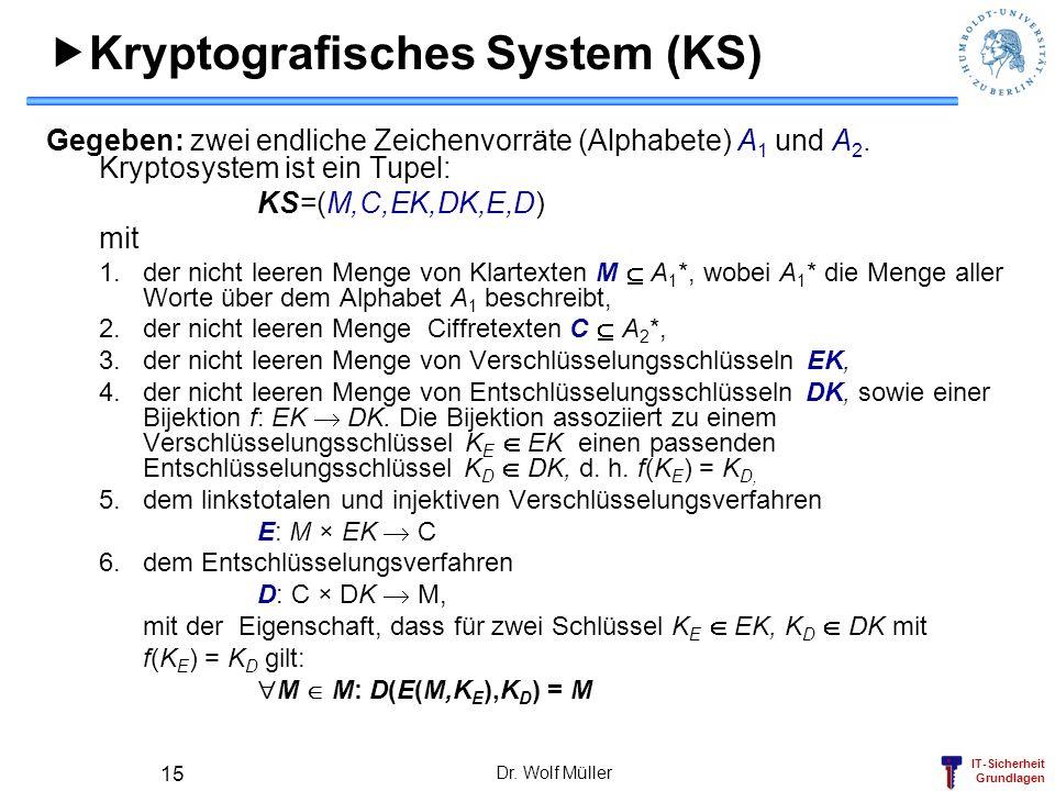 IT-Sicherheit Grundlagen Dr. Wolf Müller 15 Kryptografisches System (KS) Gegeben: zwei endliche Zeichenvorräte (Alphabete) A 1 und A 2. Kryptosystem i