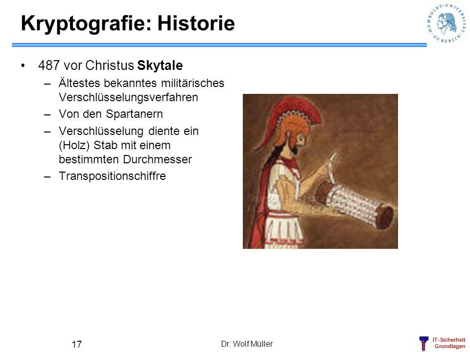 IT-Sicherheit Grundlagen Dr. Wolf Müller 17 Kryptografie: Historie 487 vor Christus Skytale –Ältestes bekanntes militärisches Verschlüsselungsverfahre