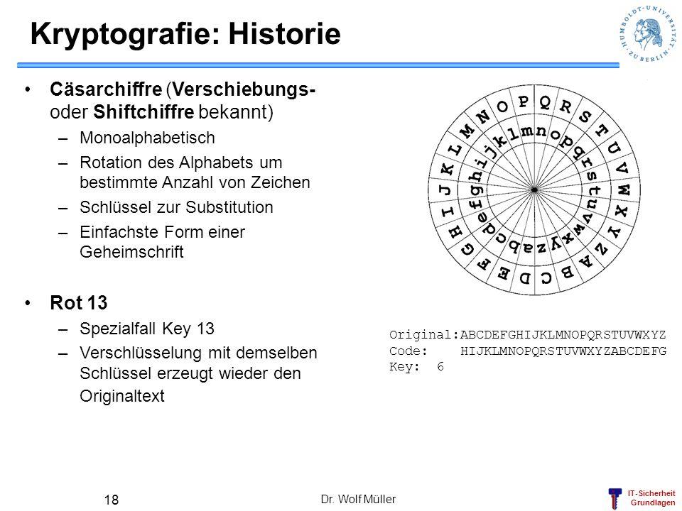 IT-Sicherheit Grundlagen Dr. Wolf Müller 18 Kryptografie: Historie Cäsarchiffre (Verschiebungs- oder Shiftchiffre bekannt) –Monoalphabetisch –Rotation