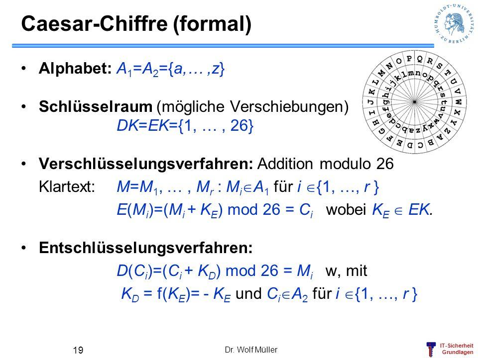 IT-Sicherheit Grundlagen Caesar-Chiffre (formal) Dr. Wolf Müller 19 Alphabet: A 1 =A 2 ={a,…,z} Schlüsselraum (mögliche Verschiebungen) DK=EK={1, …, 2