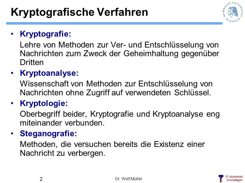 IT-Sicherheit Grundlagen Dr. Wolf Müller 2 Kryptografische Verfahren Kryptografie: Lehre von Methoden zur Ver- und Entschlüsselung von Nachrichten zum