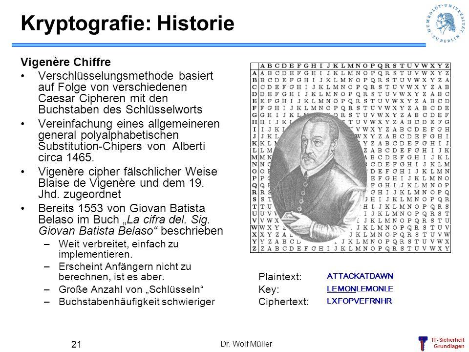 IT-Sicherheit Grundlagen Dr. Wolf Müller 21 Kryptografie: Historie Vigenère Chiffre Verschlüsselungsmethode basiert auf Folge von verschiedenen Caesar