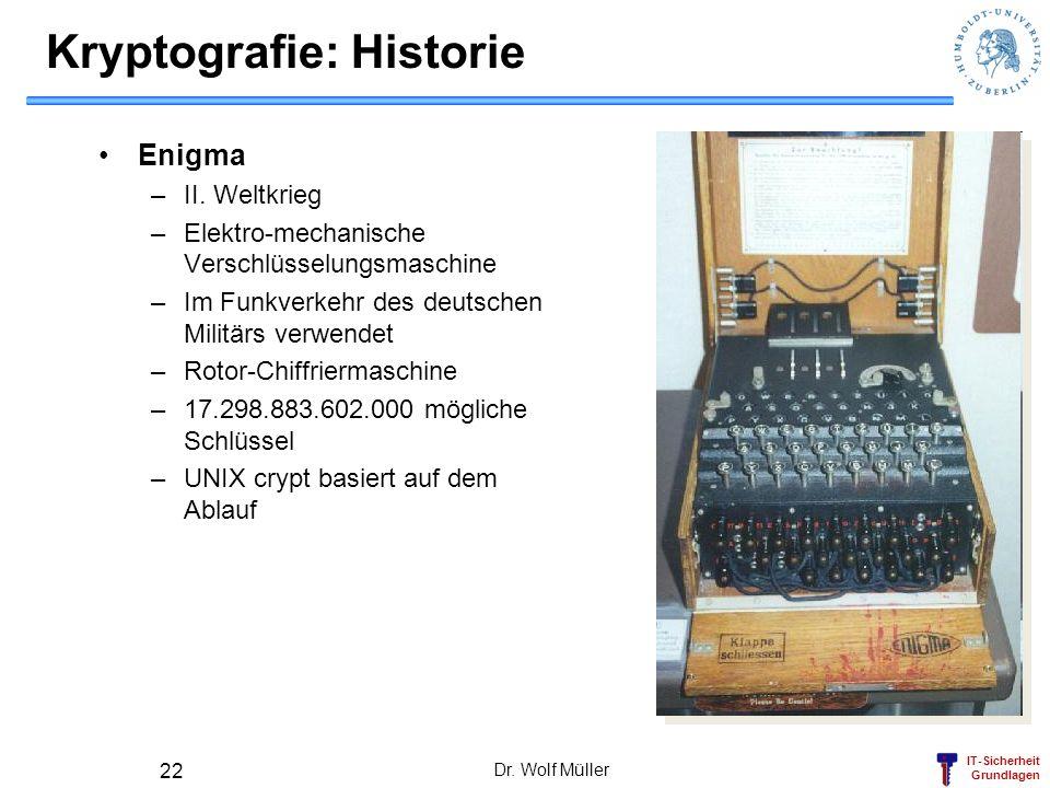 IT-Sicherheit Grundlagen Dr. Wolf Müller 22 Kryptografie: Historie Enigma –II. Weltkrieg –Elektro-mechanische Verschlüsselungsmaschine –Im Funkverkehr