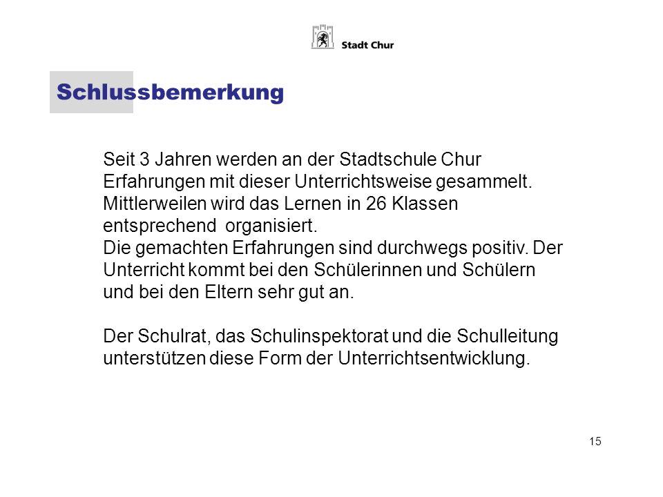 Schlussbemerkung Seit 3 Jahren werden an der Stadtschule Chur Erfahrungen mit dieser Unterrichtsweise gesammelt.