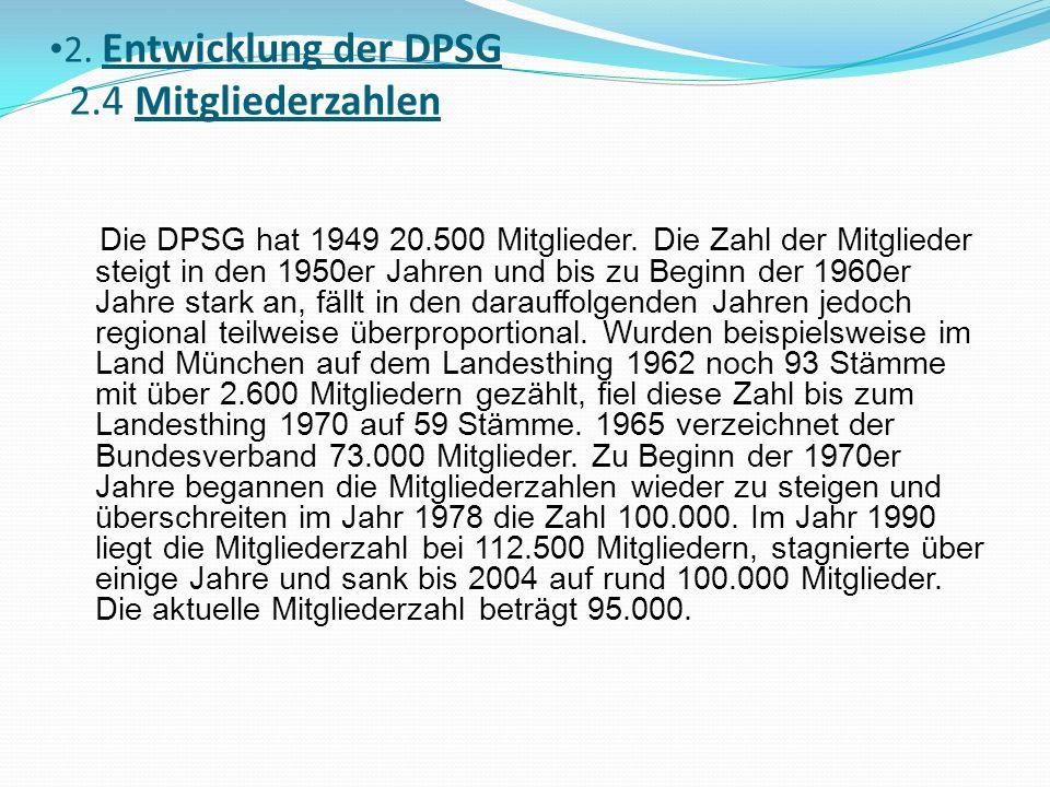 2. Entwicklung der DPSG 2.4 Mitgliederzahlen Die DPSG hat 1949 20.500 Mitglieder. Die Zahl der Mitglieder steigt in den 1950er Jahren und bis zu Begin