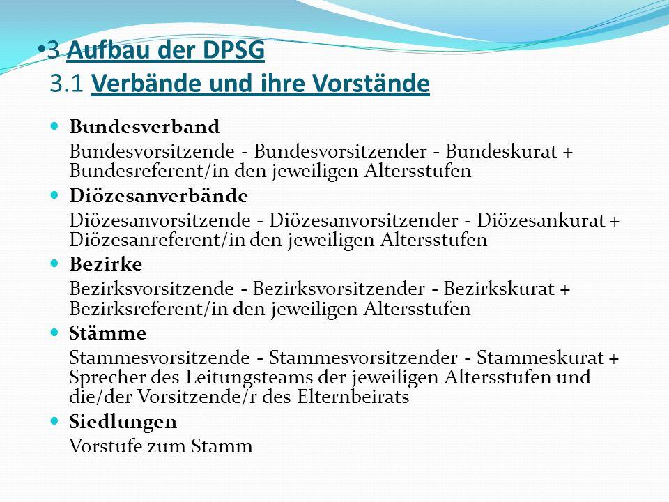 3 Aufbau der DPSG 3.1 Verbände und ihre Vorstände Bundesverband Bundesvorsitzende - Bundesvorsitzender - Bundeskurat + Bundesreferent/in den jeweilige