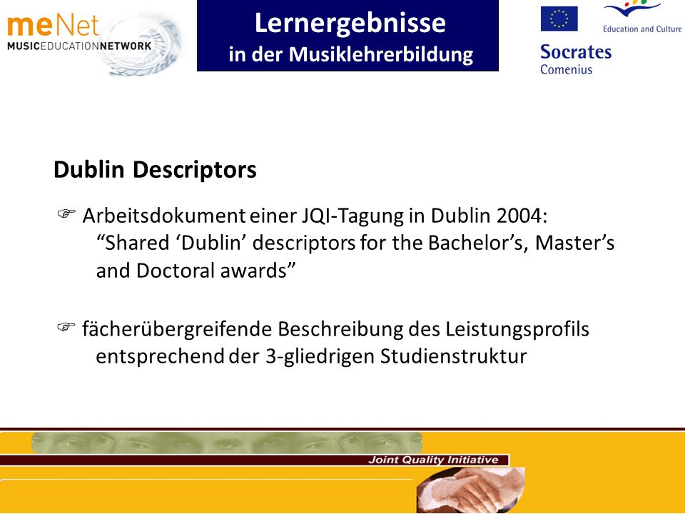 Lernergebnisse in der Musiklehrerbildung Dublin Descriptors Arbeitsdokument einer JQI-Tagung in Dublin 2004: Shared Dublin descriptors for the Bachelo