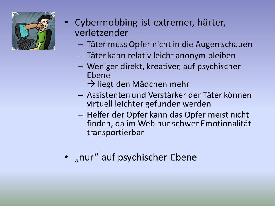 Cybermobbing ist extremer, härter, verletzender – Täter muss Opfer nicht in die Augen schauen – Täter kann relativ leicht anonym bleiben – Weniger dir