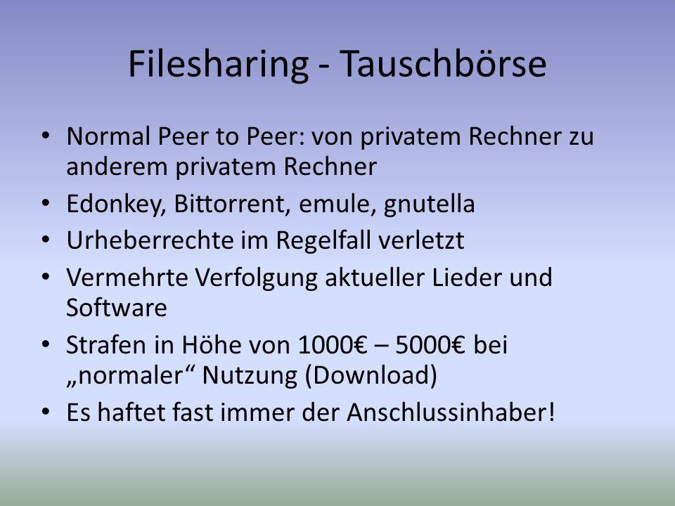 Filesharing - Tauschbörse Normal Peer to Peer: von privatem Rechner zu anderem privatem Rechner Edonkey, Bittorrent, emule, gnutella Urheberrechte im