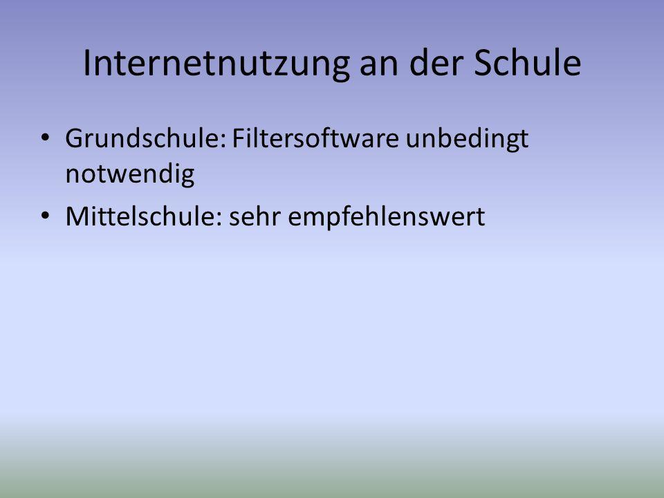 Internetnutzung an der Schule Grundschule: Filtersoftware unbedingt notwendig Mittelschule: sehr empfehlenswert