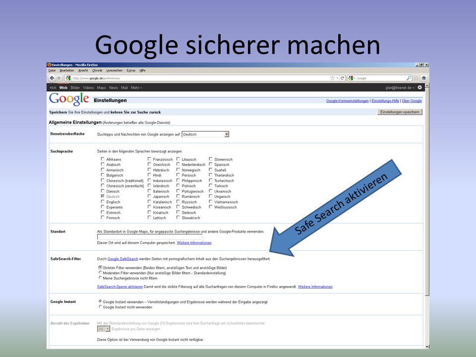 Google sicherer machen Safe Search aktivieren