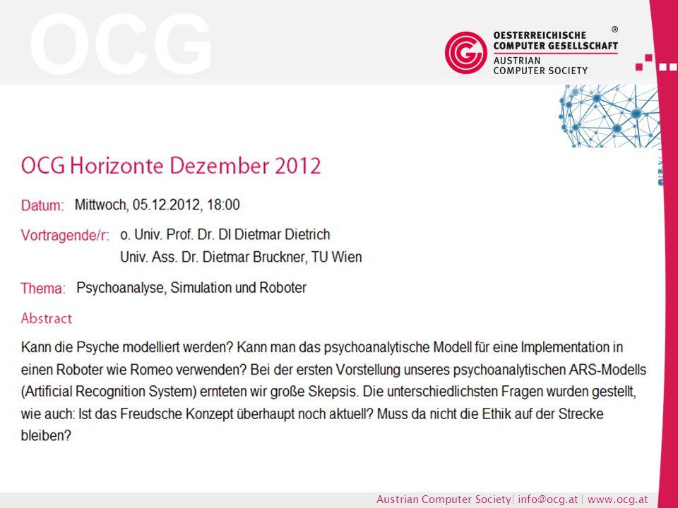 OCG Austrian Computer Society| info@ocg.at | www.ocg.at