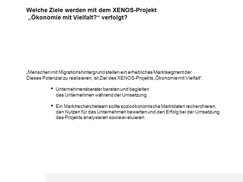 4 Was wird im XENOS-Projekt Ökonomie mit Vielfalt getan.