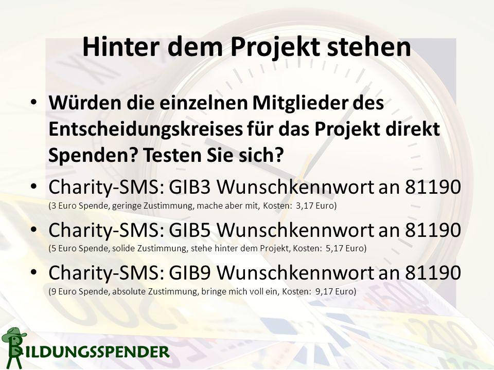 Hinter dem Projekt stehen Würden die einzelnen Mitglieder des Entscheidungskreises für das Projekt direkt Spenden? Testen Sie sich? Charity-SMS: GIB3