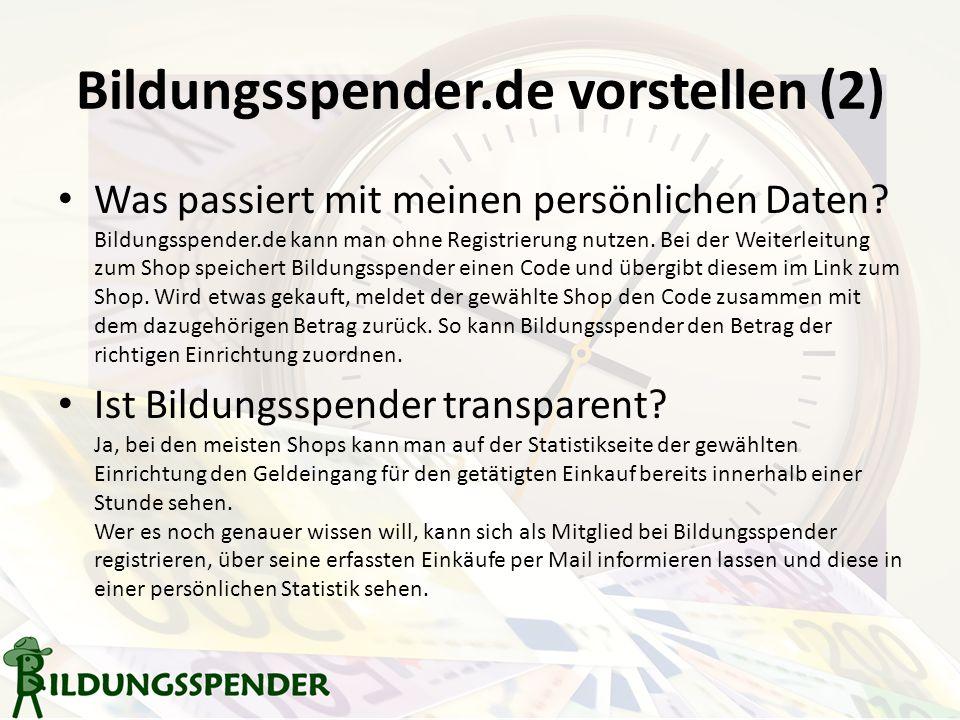 Bildungsspender.de vorstellen (2) Was passiert mit meinen persönlichen Daten.